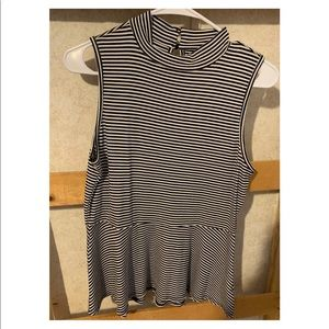 Black and white striped, fit and flare top